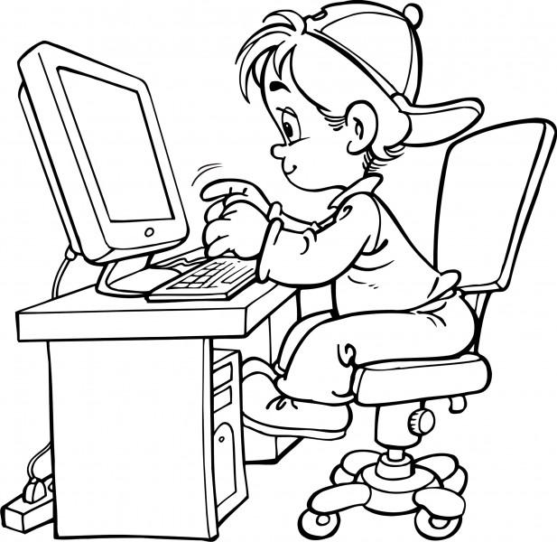 Coloriage garçon sur ordinateur