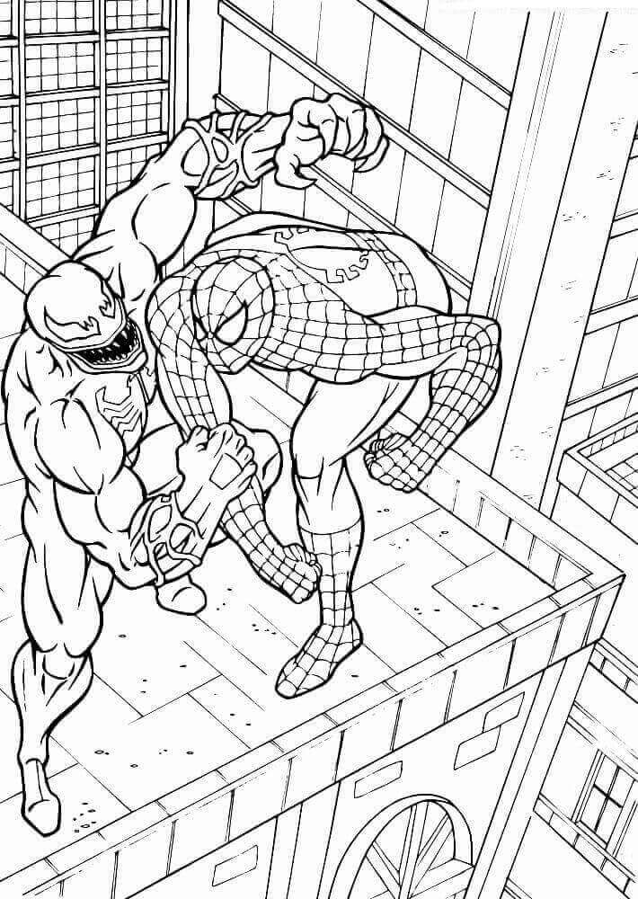 Coloriage Venom Et Spiderman