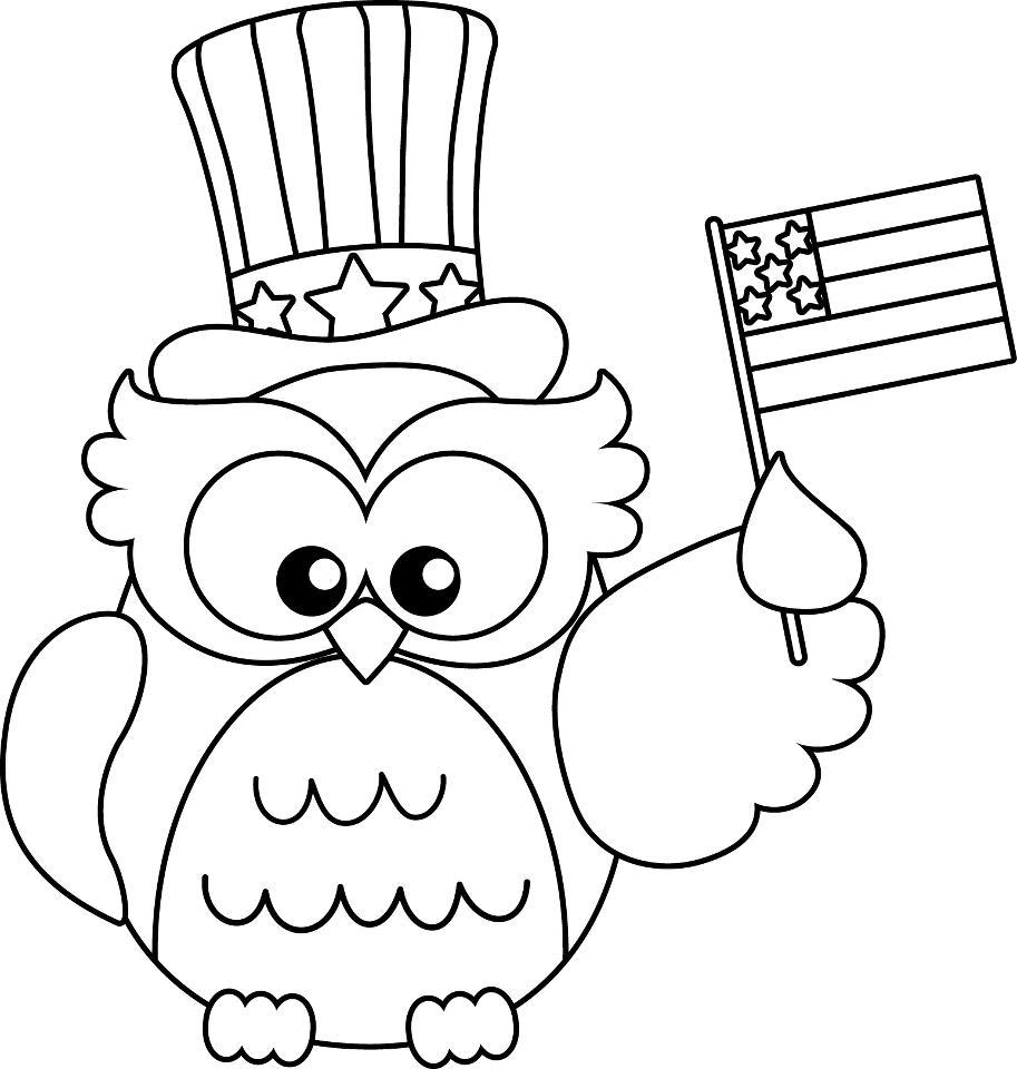 Coloriage du jour du drapeau hibou américain