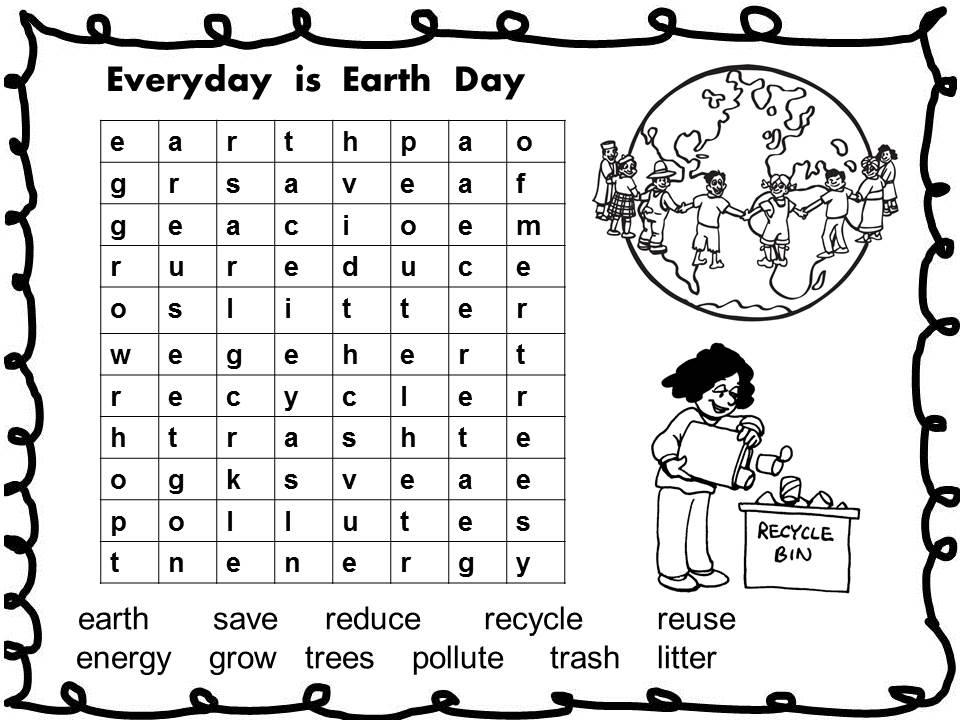 Jeu de recherche de mots pour le Jour de la Terre