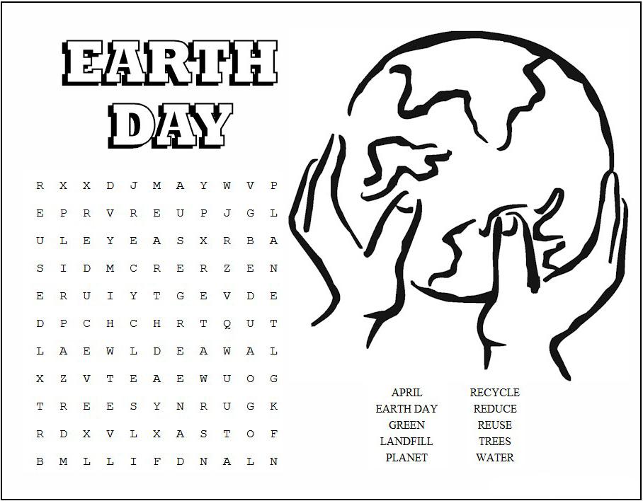 Recherche de mot de jour de la terre imprimable