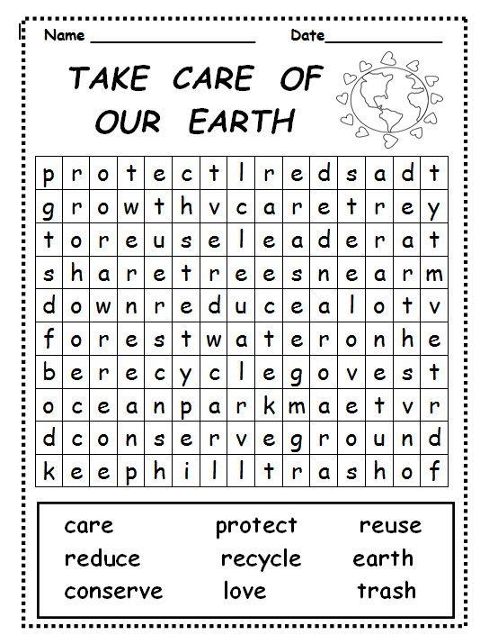 Prenez soin de notre recherche de mots de la Terre