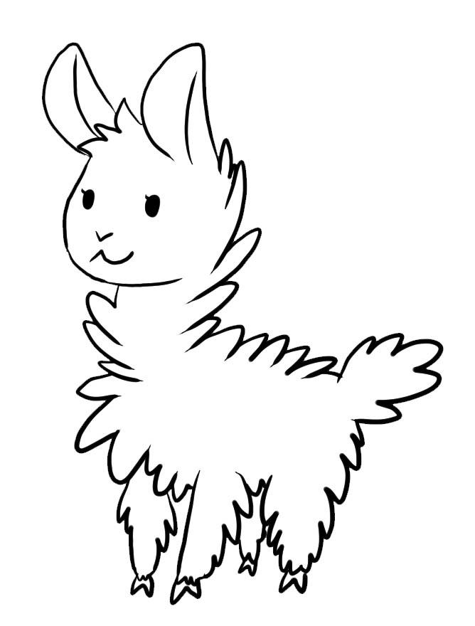 Coloriage à imprimer de lama mignon