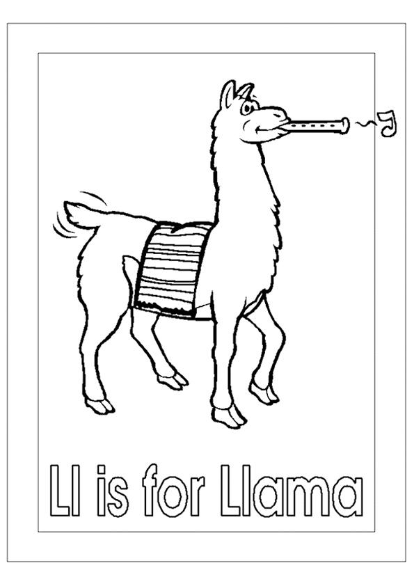 L est pour Llama Coloring Page
