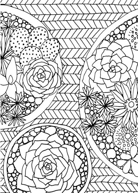 Coloriage de fleurs mignonnes pour adultes