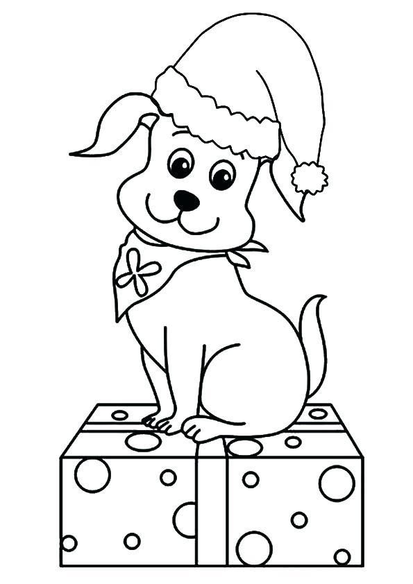 Coloriage de chiot mignon pour Noël