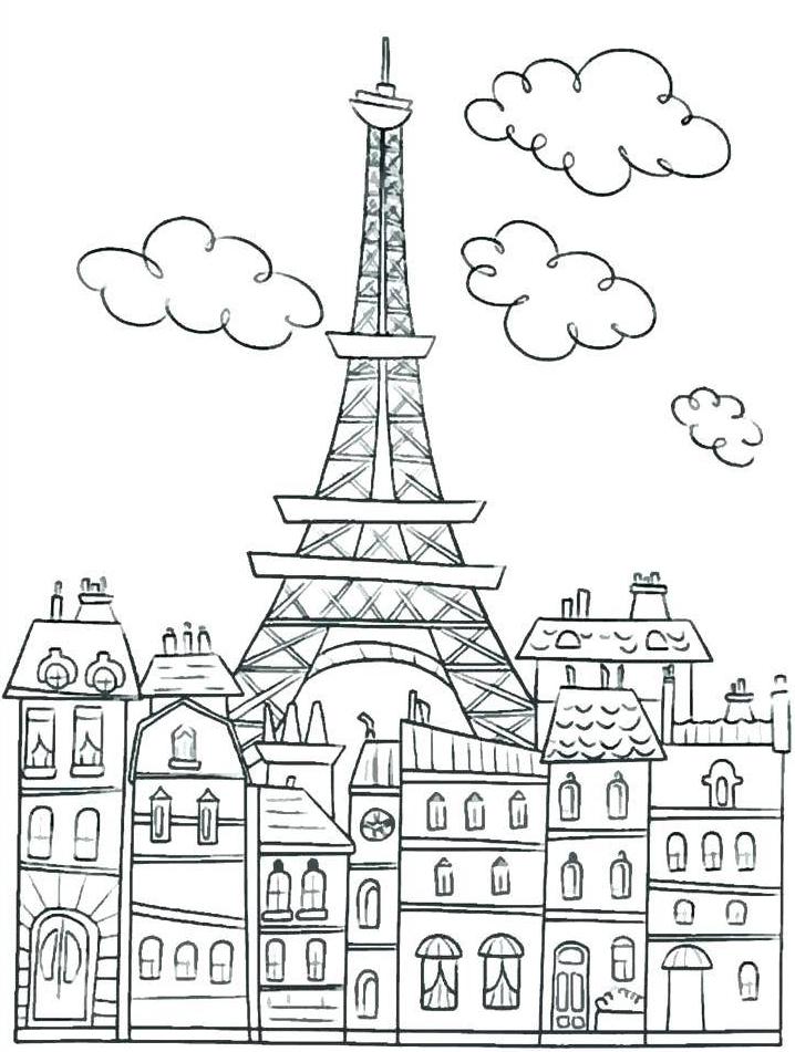 Coloriage de la Tour Eiffel à Paris pour adultes