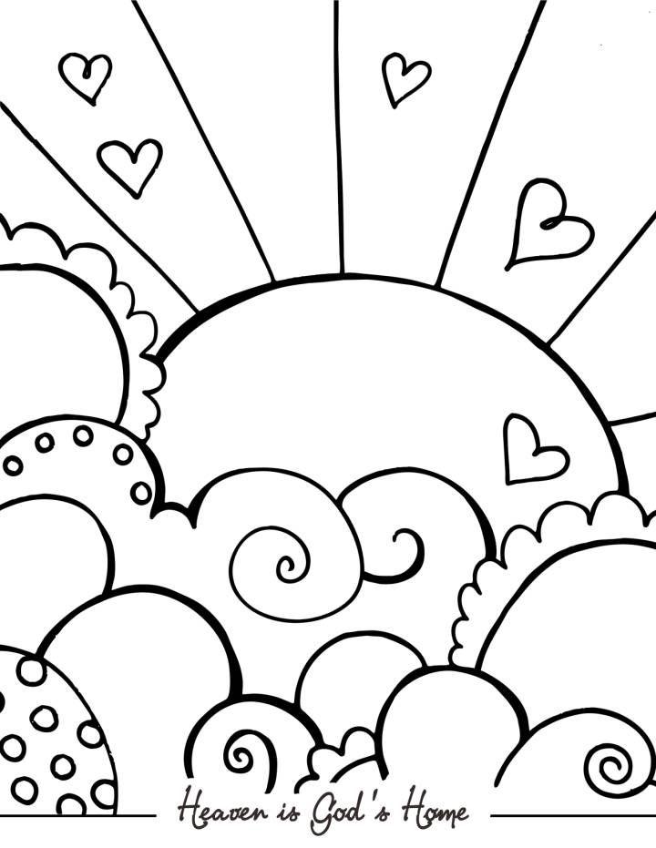 Sun Hearts and Heaven - Jolies pages à colorier pour adultes