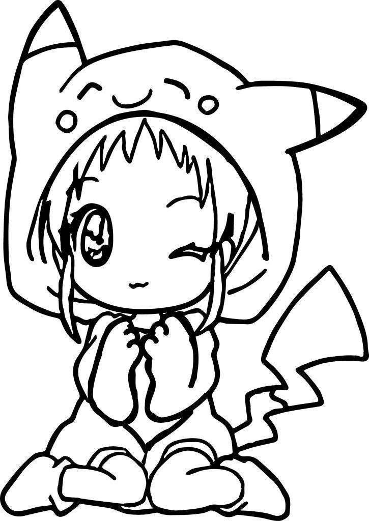 Coloriage anime mignon