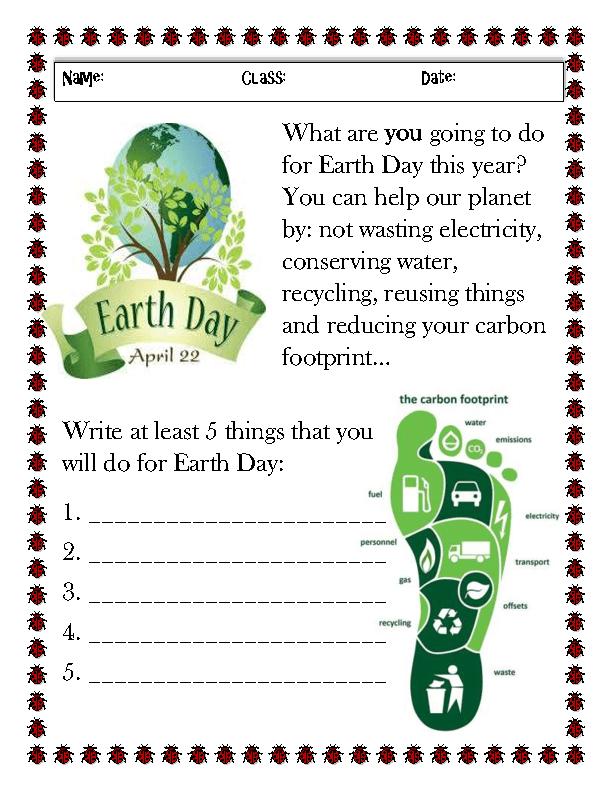 Feuille de travail sur les activités du Jour de la Terre