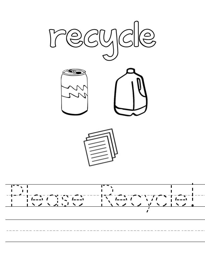 Feuille de travail de traçage du recyclage du Jour de la Terre