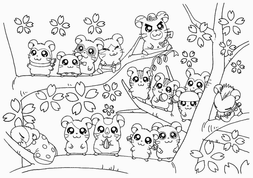 Coloriage de hamsters mignons