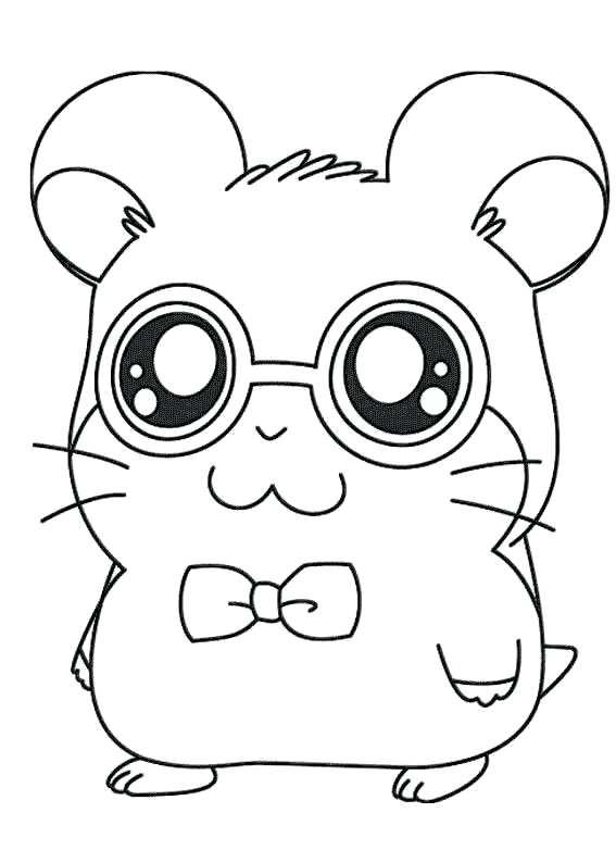 Coloriage hamster avec des lunettes