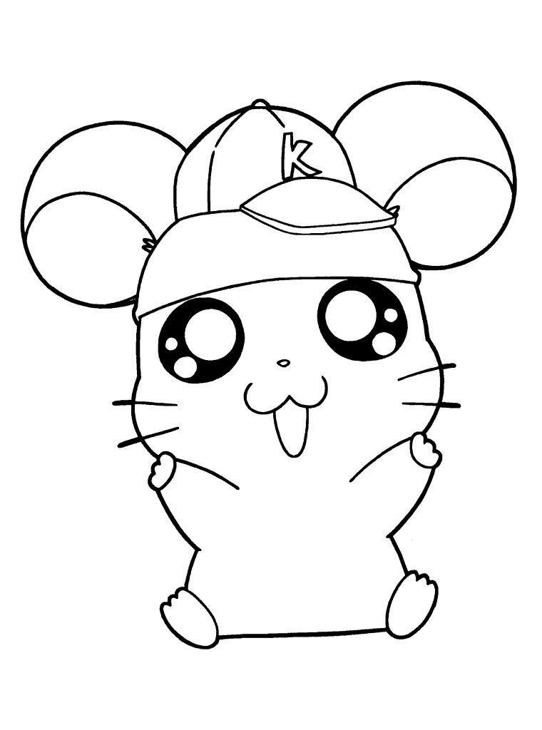 Coloriage de hamster heureux