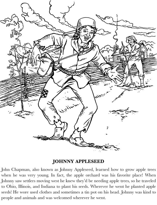 Imprimables gratuits Johnny Appleseed