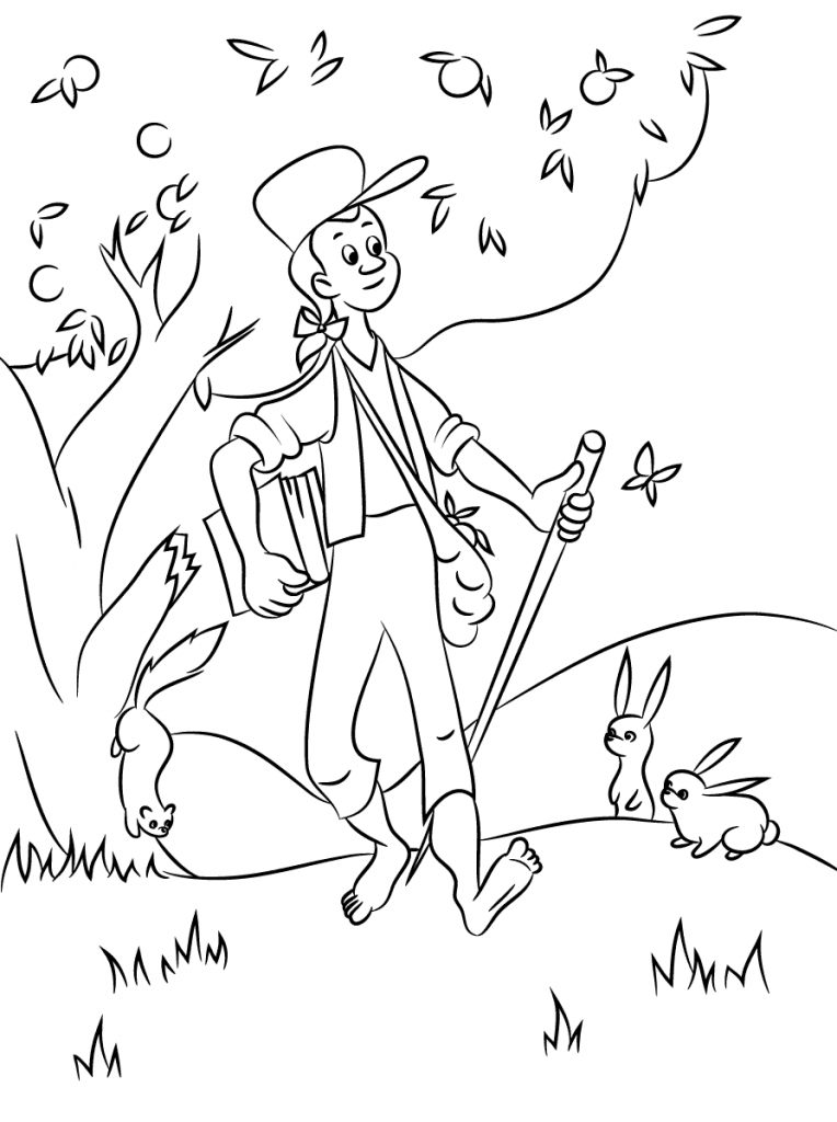 Coloriage de Johnny Appleseed