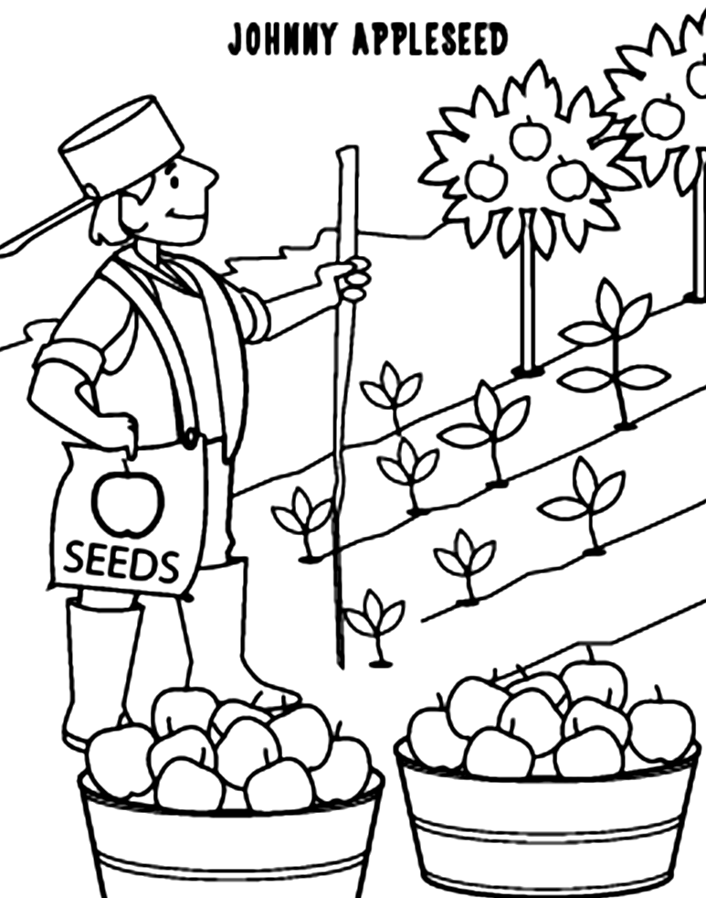 Coloriage Johnny Appleseed