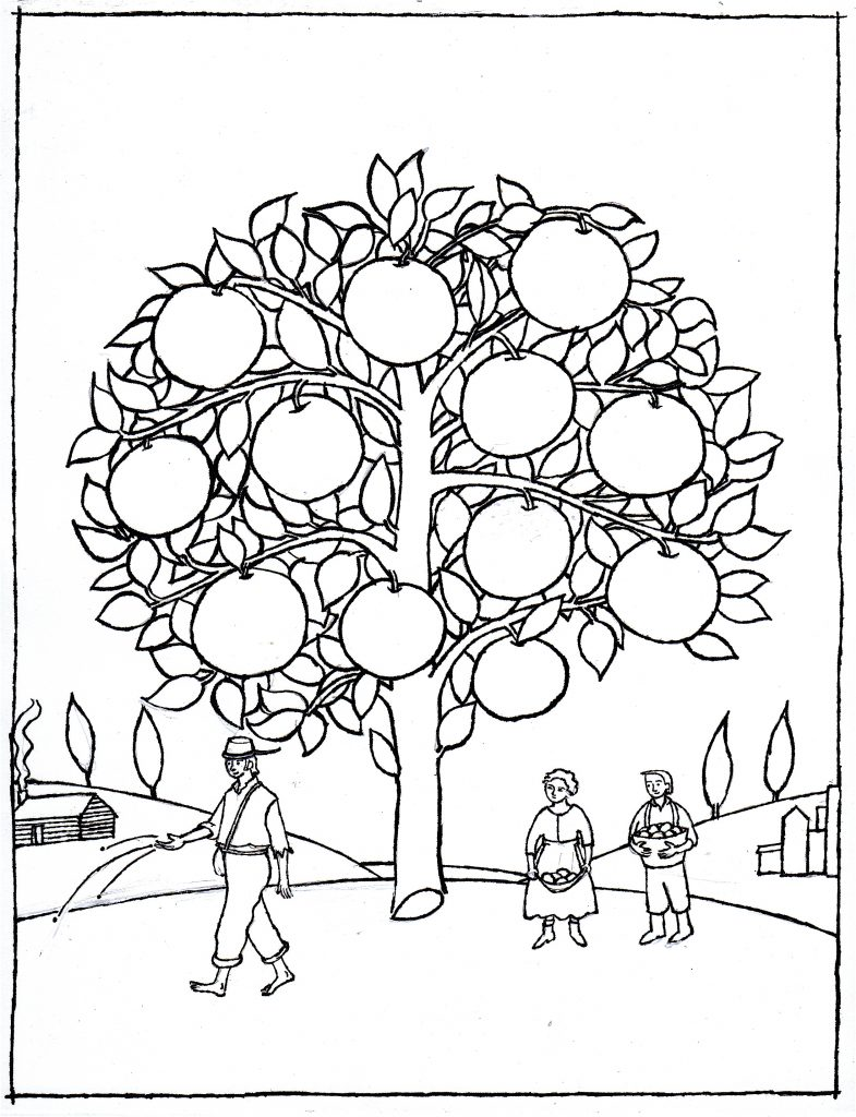 Coloriage Johnny Appleseed Tree