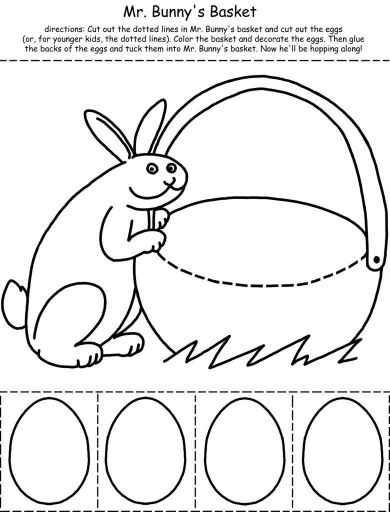 Feuille d'activités coupées et couleurs du panier de Pâques
