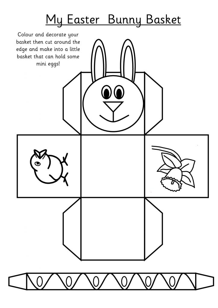 Feuille de découpe d'activité du panier de Pâques
