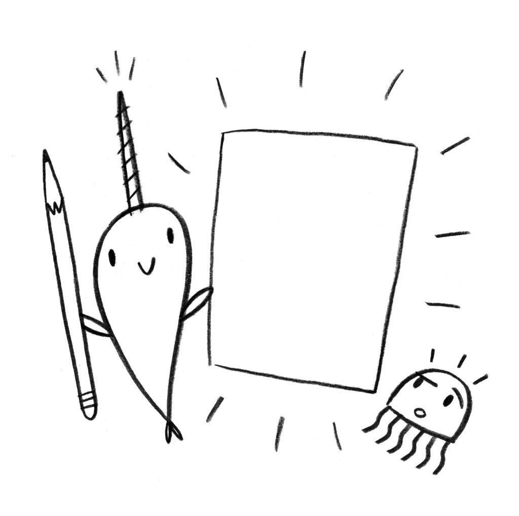 Feuille de narval imprimable mignon