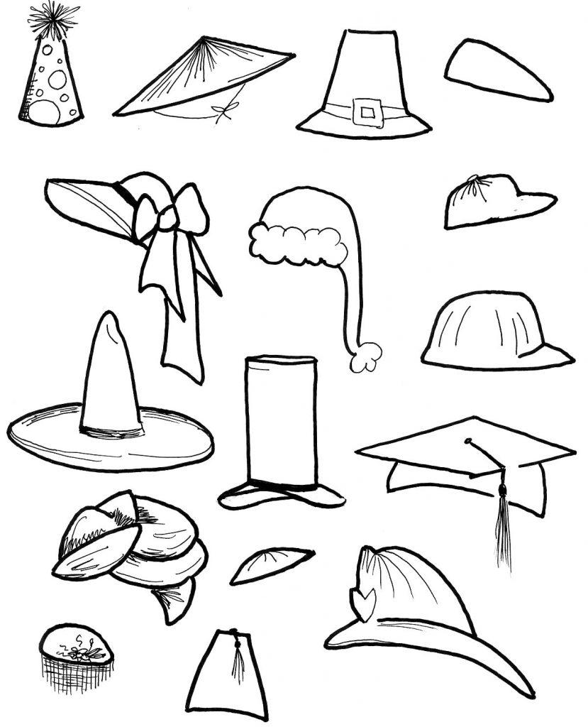 Coloriage de chapeaux