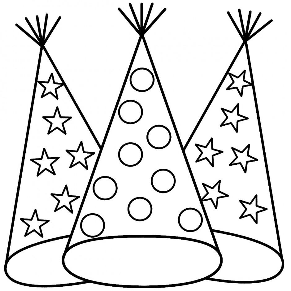 Chapeaux de fête à colorier