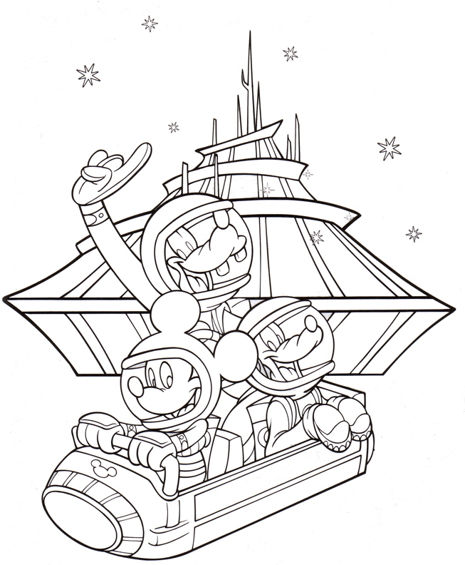 Coloriage Disney Space Mountain pour adultes