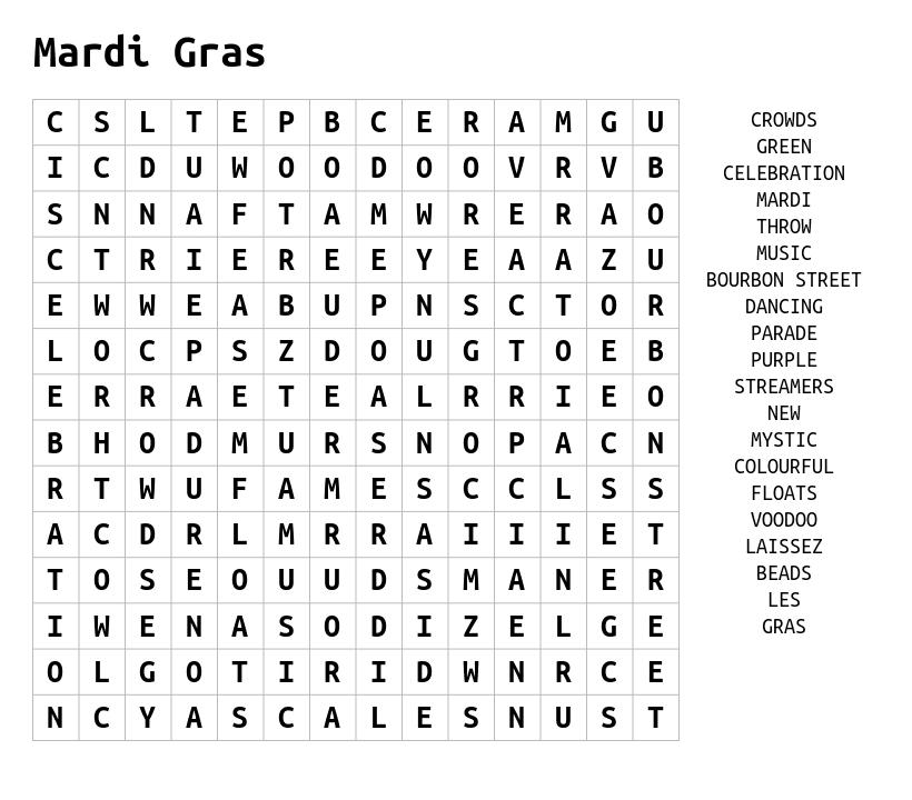 Recherche de mots Mardi Gras
