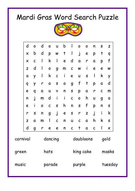 Puzzle de recherche de mots Mardi Gras