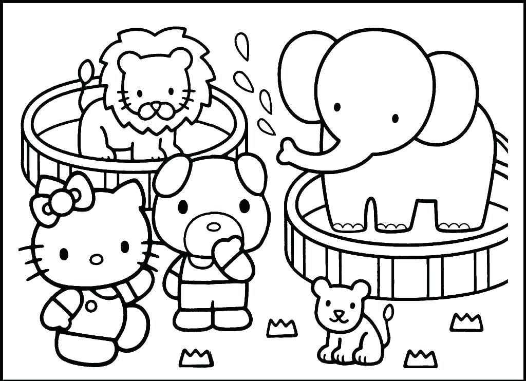Coloriage animaux du zoo Hello Kitty