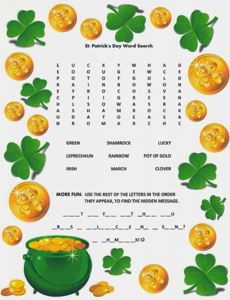 Recherche gratuite de mots pour la Saint-Patrick