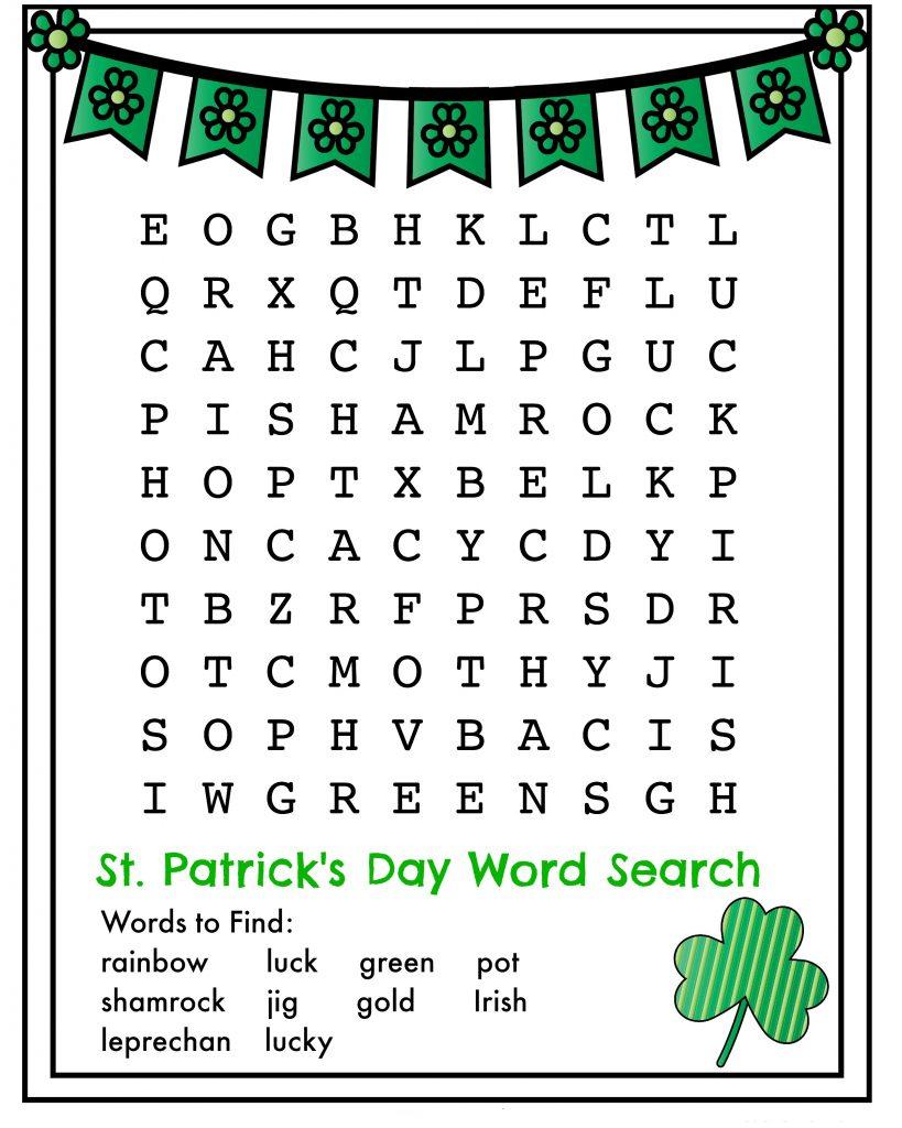 Imprimer la recherche de mot de la Saint-Patrick