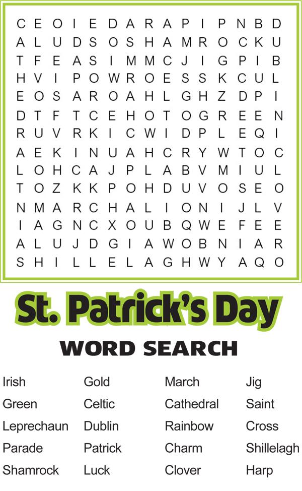 Recherche de mot imprimable St Patricks Day