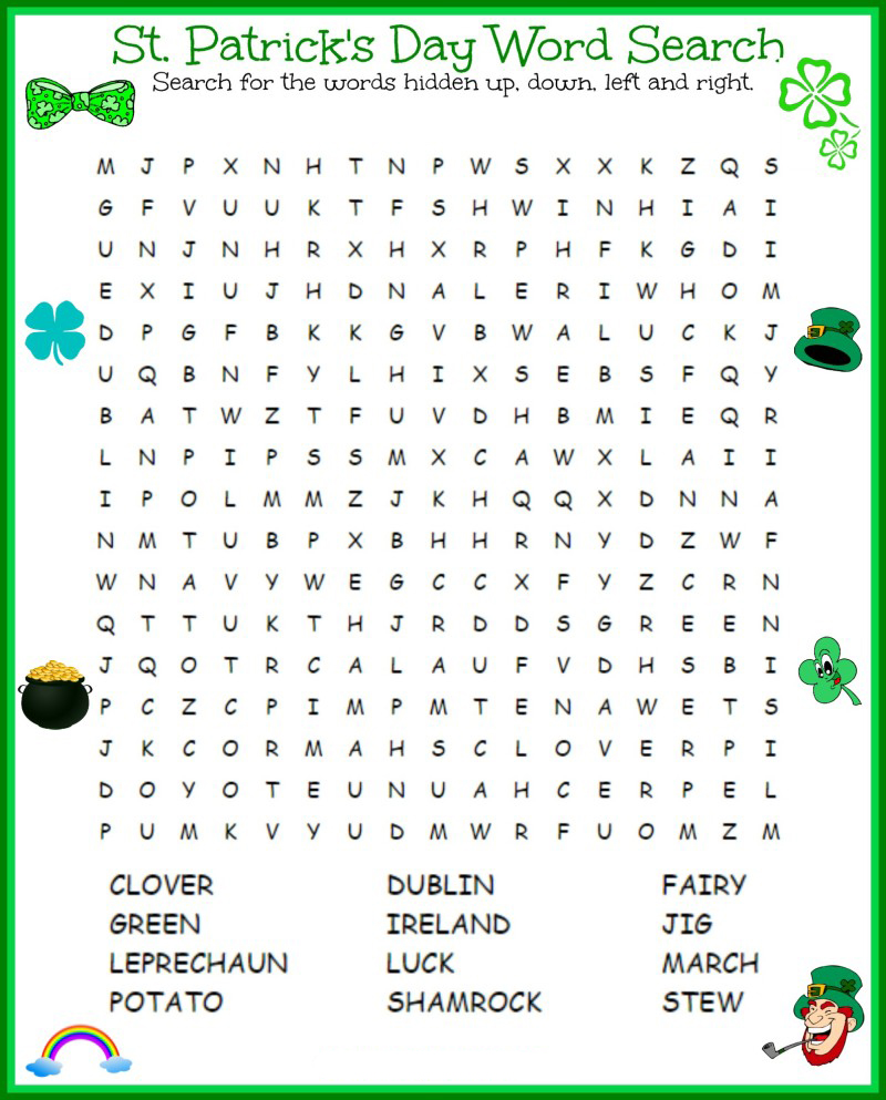 Imprimables de recherche de mot de la Saint-Patrick