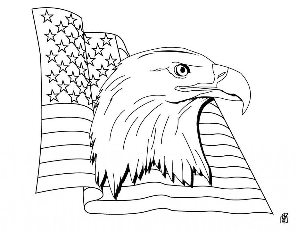 Coloriage drapeau américain patriotique gratuit