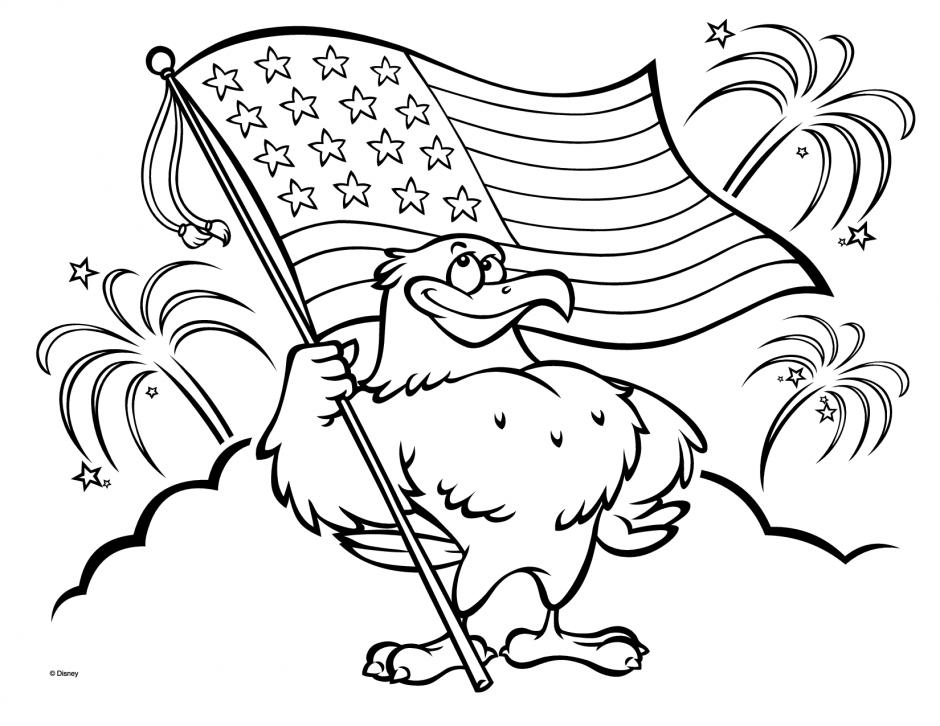 Coloriage aigle drapeau américain