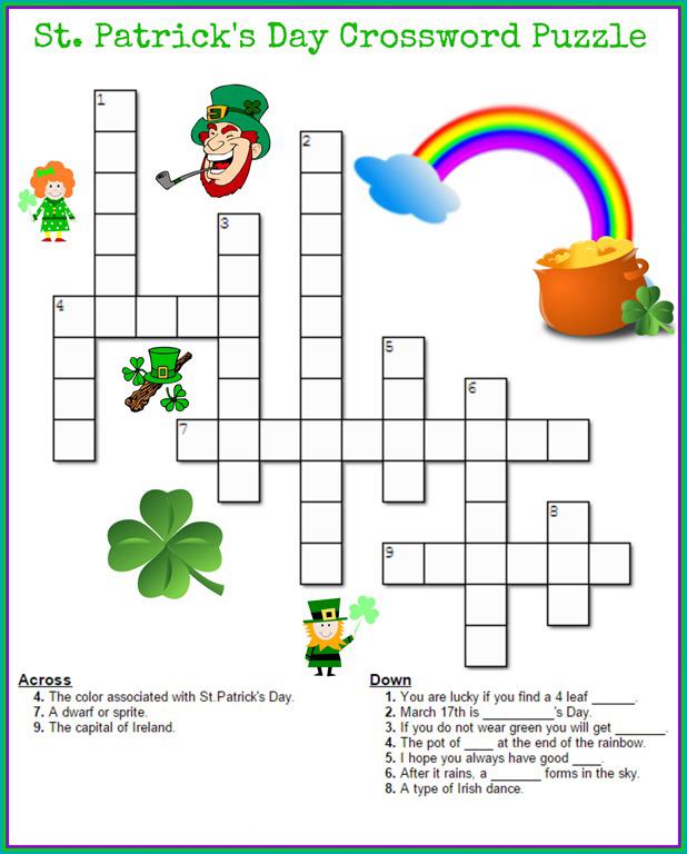 Puzzles de mots croisés de la Saint-Patrick