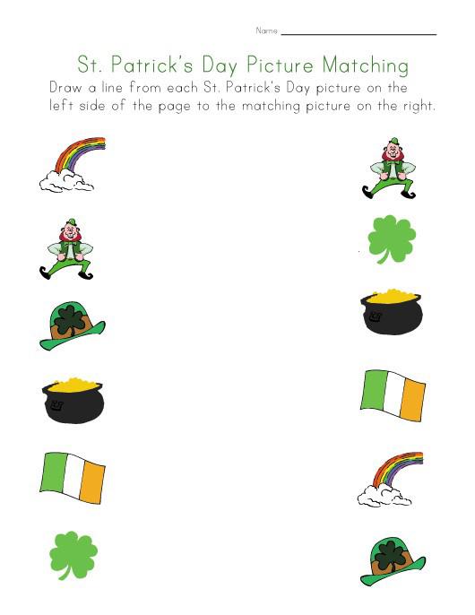 Feuille de travail de correspondance des images de la Saint-Patrick