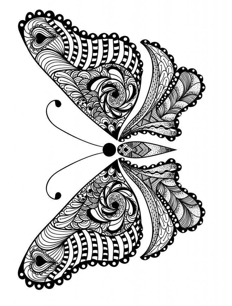 Coloriages Adultes Animaux - Papillon
