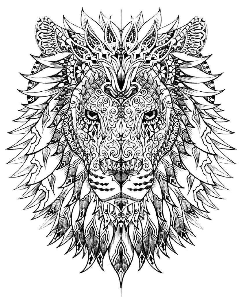 Coloriage animaux pour adultes - Lion