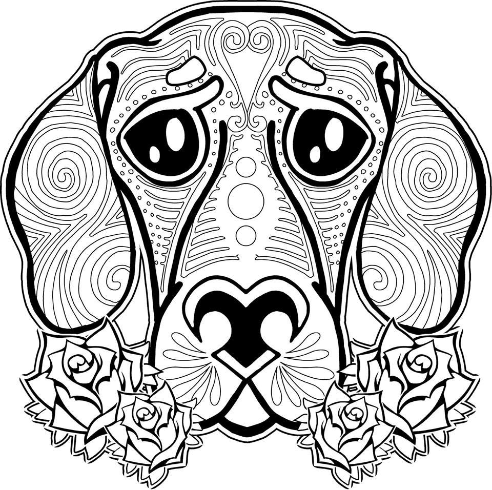 Coloriage animaux pour adultes - Chien