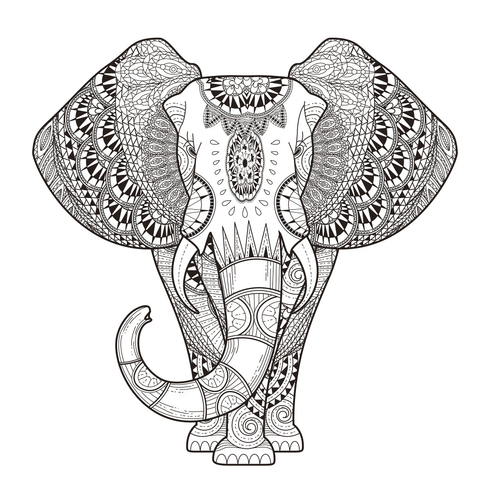 Coloriage Adulte Animaux - Éléphant