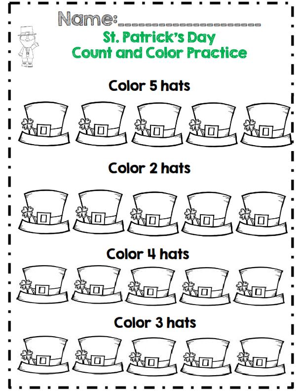Feuilles de calcul du nombre et de la couleur de la Saint-Patrick