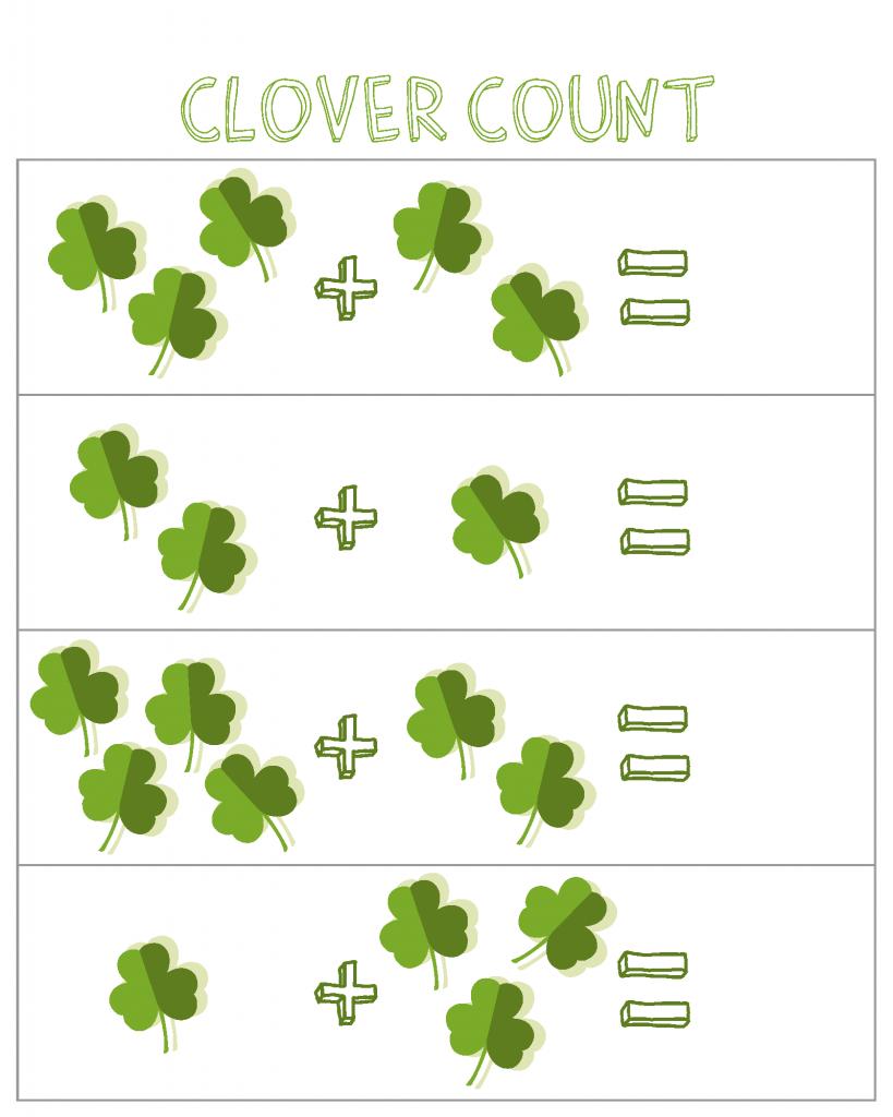 Feuilles de calcul pour l'addition mathématique de la Saint-Patrick
