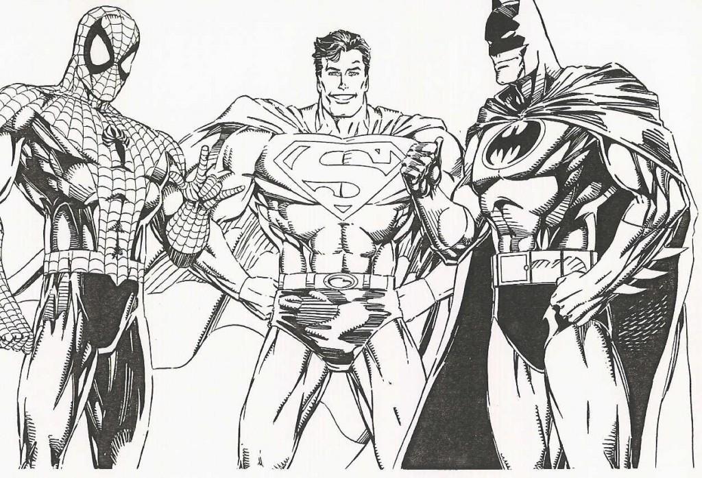 Coloriage Spiderman Batman Superman