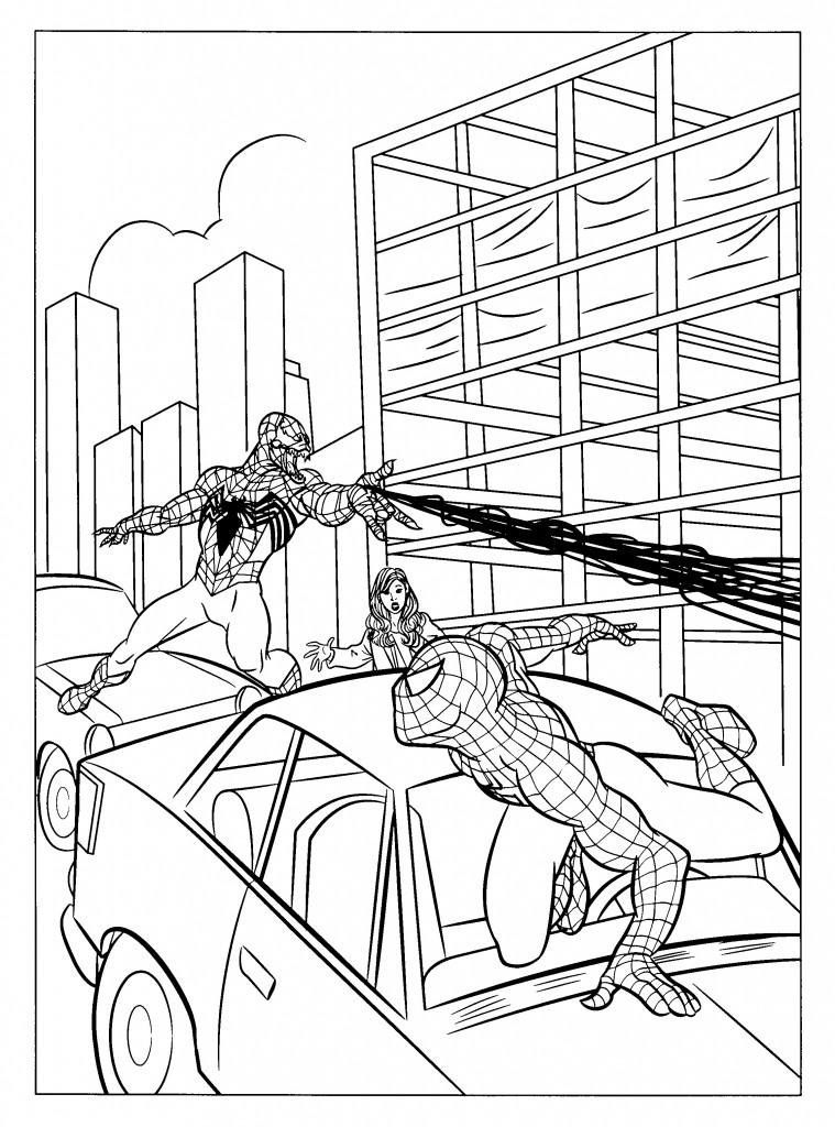 Coloriage Spiderman et Venom