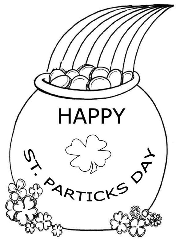 Happy St Patricks Day Pot de coloriage d'or
