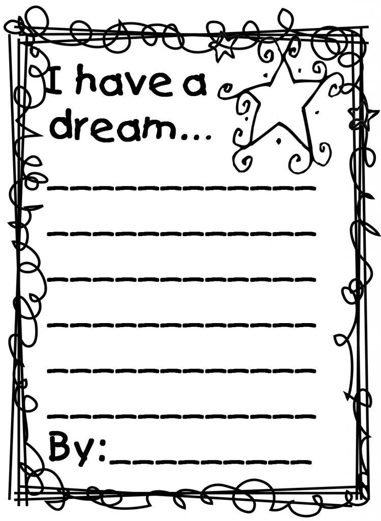 Martin Luther King Feuille de travail J'ai un rêve