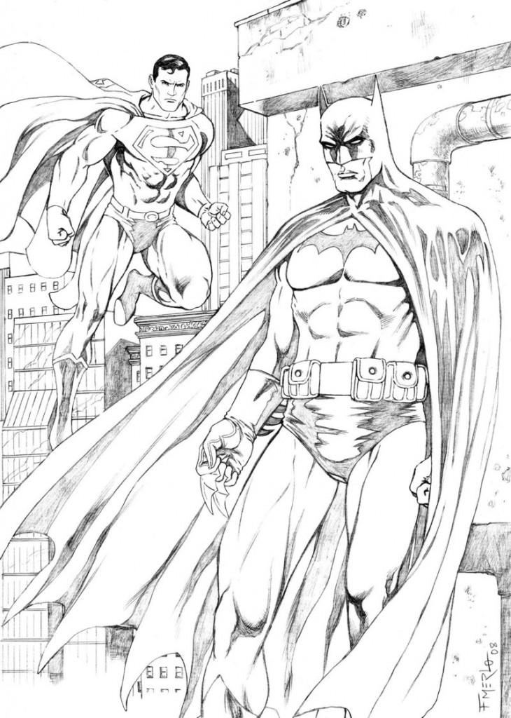 Coloriage de Superman et Batman
